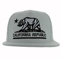SM616 Cali Bear Snapback Cap (White & White - Black)