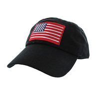 BM691 American USA Flag Cotton Buckle Cap (Solid Black)