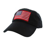 BM691 American USA Flag Cotton Buckle Cap (Solid Black)