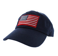 BM691 American USA Flag Cotton Buckle Cap (Solid Navy)