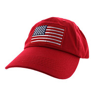 BM691 American USA Flag Cotton Buckle Cap (Solid Red)
