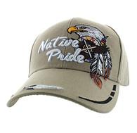 VM291 Native Pride Eagle Velcro Cap (Solid Khaki)