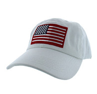 BM691 American USA Flag Cotton Buckle Cap (Solid White)