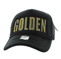 SM740 Golden Trucker Mesh Cap (Black & Black)