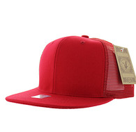 SP029 Plain Cotton Mesh Trucker Cap (Solid Red)