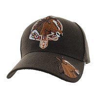 VM196 Horse & Belt Velcro Cap (Solid Brown)