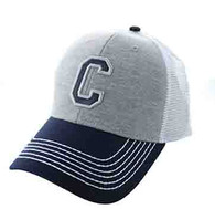 SM900 Solid Letter C Cotton Mesh Trucker Cap (Grey & Navy)