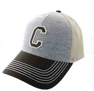 SM900 Solid Letter C Cotton Mesh Trucker Cap (Grey & Brown)