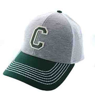 SM900 Solid Letter C Cotton Mesh Trucker Cap (Grey & Dark Green)