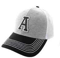 SM900 Solid Letter A Cotton Mesh Trucker Cap (Grey & Black)