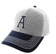 SM900 Solid Letter A Cotton Mesh Trucker Cap (Grey & Navy)