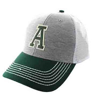 SM900 Solid Letter A Cotton Mesh Trucker Cap (Grey & Dark Green)