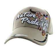 VM291 Native Pride Skull Velcro Cap (Solid Khaki)