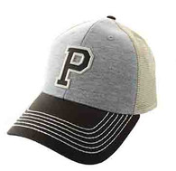 SM900 Solid Letter P Cotton Mesh Trucker Cap (Grey & Brown)