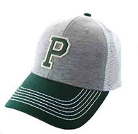 SM900 Solid Letter P Cotton Mesh Trucker Cap (Grey & Dark Green)