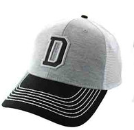 SM900 Solid Letter D Cotton Mesh Trucker Cap (Grey & Black)