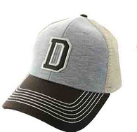 SM900 Solid Letter D Cotton Mesh Trucker Cap (Grey & Brown)