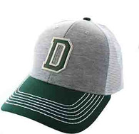 SM900 Solid Letter D Cotton Mesh Trucker Cap (Grey & Dark Green)