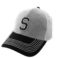 SM900 Solid Letter S Cotton Mesh Trucker Cap (Grey & Black)