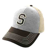 SM900 Solid Letter S Cotton Mesh Trucker Cap (Grey & Brown)