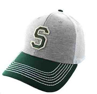 SM900 Solid Letter S Cotton Mesh Trucker Cap (Grey & Dark Green)