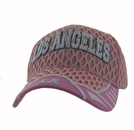VM421 Los Angeles City Big Mesh Velcro Cap (Light Pink & Light Pink)