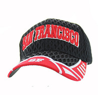 VM421 San Francisco City Big Mesh Velcro Cap (Black & Red)