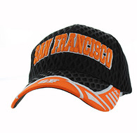 VM421 San Francisco City Big Mesh Velcro Cap (Black & Orange)