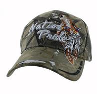 VM291 Native Pride Wolf Velcro Cap (Solid Hunting Camo)