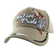 VM291 Native Pride Wolf Velcro Cap (Solid Khaki)