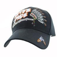 VM442 Native Pride Chieftain's Peace Pipe Velcro Cap (Solid Black)