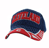 VM421 Cleveland City Big Mesh Velcro Cap (Navy & Red)