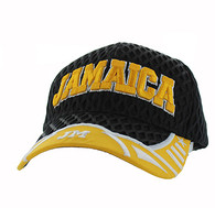 VM421 Jamaica Big Mesh Velcro Cap (Black & Yellow)