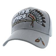 VM442 Native Pride Chieftain's Peace Pipe Velcro Cap (Solid Light Grey)