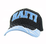 VM421 Haiti Big Mesh Velcro Cap (Black & Sly Blue)