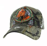 VM445 Native Pride Horse Velcro Cap (Solid Hunting Camo)