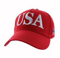 VM690 American USA Cotton Velcro Cap (Solid Red)