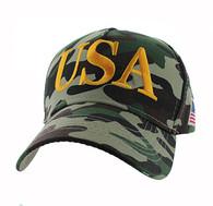 VM690 American USA Cotton Velcro Cap (Solid Hunting Camo)