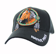 VM445 Native Pride Horse Velcro Cap (Solid Black)