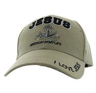 VM118 Jesus Anchor of My Life Velcro Cap (Solid Khaki)