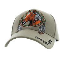 VM445 Native Pride Horse Velcro Cap (Solid Khaki)
