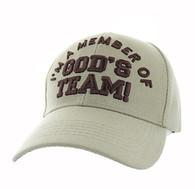 VM189 I'm a Member of God's Team Velcro Cap (Solid Khaki)