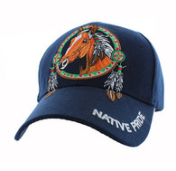 VM445 Native Pride Horse Velcro Cap (Solid Navy)