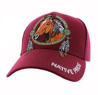 VM445 Native Pride Horse Velcro Cap (Solid Burgundy)