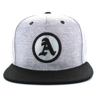 SM382 Solid Letter A Cotton Snapback (Grey & Black)