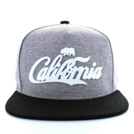 SM613 California Bear Cotton Snapback (Light Grey & Black)