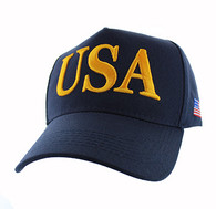 VM690 American USA Cotton Velcro Cap (Solid Navy)