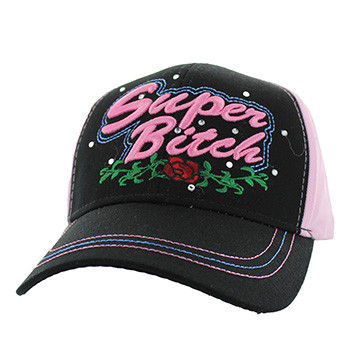 VM205 Super Bitch Cotton Velcro Cap (Black   Light Pink) - Ace Cap e9230576d28b