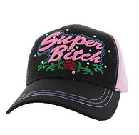 VM205 Super Bitch Cotton Velcro Cap (Black & Light Pink)