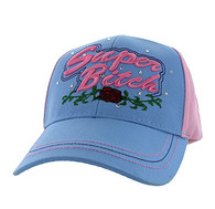 VM205 Super Bitch Cotton Velcro Cap (Sky Blue & Light Pink)